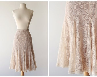Romantic Taupe Lace Midi Skirt - Vintage High Waisted Boho Lace Skirt - Size Small