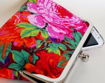 CLUTCH in Luscious Magenta and Red Floral - LARGE