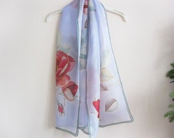 Silk scarf hand painted Wedding accessory Bridal Red roses - ready to ship