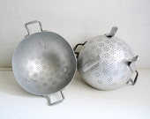 Reserved for S .... 2 Vintage French ALUMINUM COLANDERS. Footed Sieves with 2 Handles.