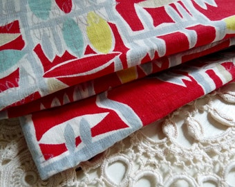 "1 Vintage BOLSTER PILLOW CASE, Mid Century, Red, Abstract, Fabric Cushion Cover. Long 1.15cm x Wide 37cm or Long 45.3 "" x Wide 14.6 ""."