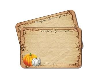 Thanksgiving Recipe Cards, Pumpkin Recipe Card Set, Rustic Fall Bridal Shower Recipe Cards, Pumpkin Spice, Hostess Gift, Set of 12