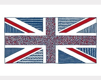 SALE / Lovely UK art print / A4 Giclee print / contemporary illustration / Union jack / UK flag / Blue and red illustration