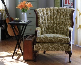 1940s channel back wing chair