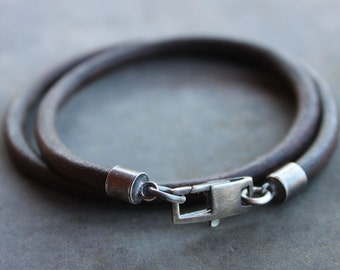 Mens Leather Bracelet with large sterling silver clasp - gift for him, Fathers day gift, anniversary gift, Graduation, Father son bracelet