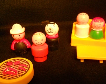 1970s Fisher Price People, Fireman, grill, furniture