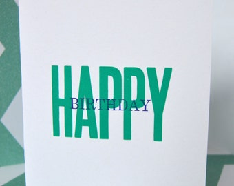 Happy Birthday Letter Press Card w/ Envelope 4.25x5.5 inches