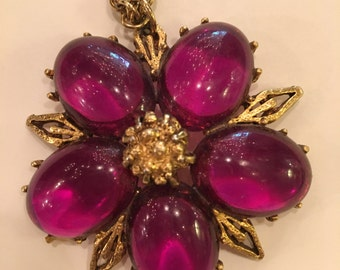 Large Purple Lucite Flower Necklace