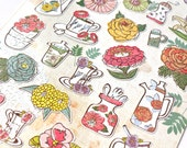 Flower Stickers - Flowers and Teacup Stickers - Korean Stickers