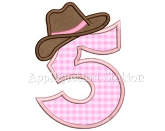 Number Five Cowgirl Hat 5th Birthday Applique Machine Embroidery Design cowboy five 5 INSTANT DOWNLOAD