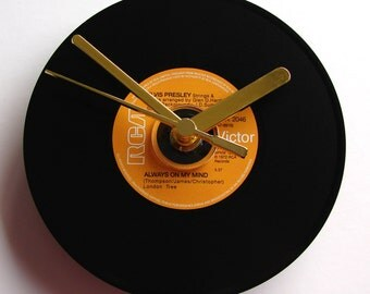 """ELVIS CD Wall Clock """"Always On My Mind"""" Recycled original music cd single that looks like a vinyl record Fun anniversary gift"""