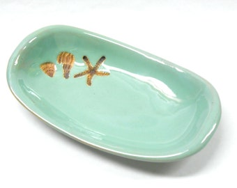 Pottery Starfish and Shell Bowl Ceramic Starfish and Shell Dish Pottery Trinket Dish Small Pottery Server Unglazed Pottery in Turquoise