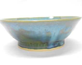Pottery Serving Bowl Ceramic Bowl Ceramic Serving Bowl Medium Pottery Bowl Pasta Serving Bowl Wedding Gift in Green and Blue
