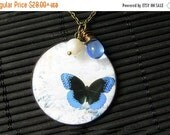 VALENTINE SALE Blue Butterfly Necklace. Butterfly Pendant with Fresh Water Pearl and Blue Teardrop. Handmade Jewelry.