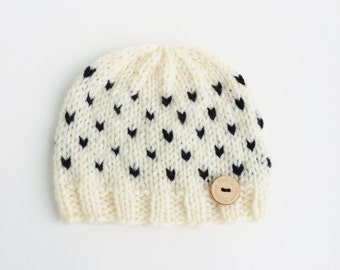 Newborn Baby Girl Fair Isle Knitted Hat with Wooden Button Black and White Hearts Unique Special Sweet Pregnancy Gift