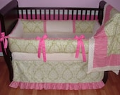 SALE! Custom Modpeapod Pink Green Damask Crib Baby Bedding Set ONLY ONE on sale and ready to ship