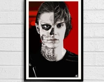 "Tate Langdon Illustration, Horror Movie Pop Art, Halloween Home Decor Poster, Scary Film Print Size 11""x17"""