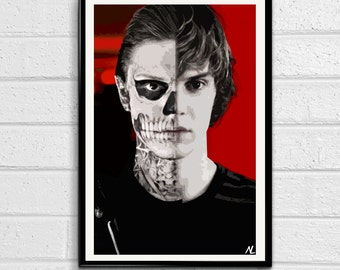 Tate Langdon Illustration, Horror Movie Pop Art, Halloween Home Decor Poster, Scary Film Print Canvas