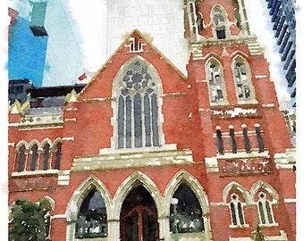 Watercolor Print - Albert Street Uniting Church Brisbane - Cityscape