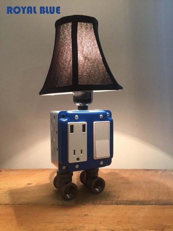 Royal Blue Industrial Lamp Usb Charging Station Lighting