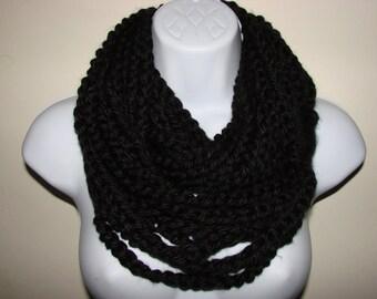 black infinity scarf, black chain scarf, loop scarf, circle scarf, indie scarf, eternity scarf, crochet infinity scarf, knit cowl