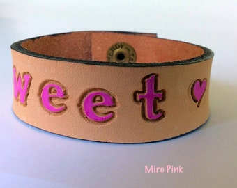 Sweetheart leather cuff bracelet for girls
