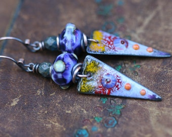 Rustic Fine Bohemian 'Flora' * earrings n212- earthy earrings . Spring jewelry . Tribalis . Romantic Flowers Garden . artisan Enamel Focal