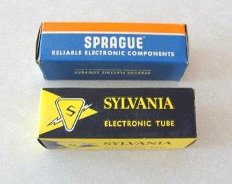 Pair of NOS TV Television Tubes, Sprague TVL-1475 and Sylvania 6CD6GA, Mint In Original Boxes