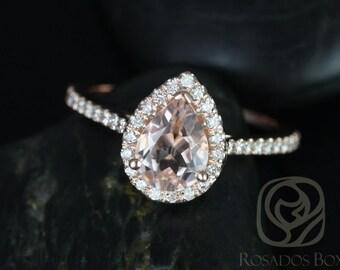 Rosados Box Tabitha 8x6mm 14kt Rose Gold Pear Morganite  and Diamonds Halo Engagement Ring