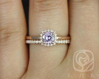 Rosados Box Bella 0.60cts & Romani 14kt Rose Gold Purplish Pink Sapphire and Diamonds Halo Wedding Set