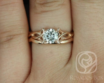 Rosados Box Orla 6mm & PLAIN Band 14kt Rose Gold Round F1- Moissanite Celtic Knot Triquetra Classic Wedding Set