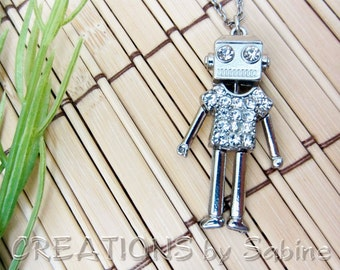 Cute Robot Pendant Necklace Rhinestones Moving Parts Silver Tone Metal Playful Adjustable Chain Techie Female Vintage FREE SHIPPING (462)