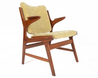 Danish Mid Century Modern Teak and Green Mohair Armchair