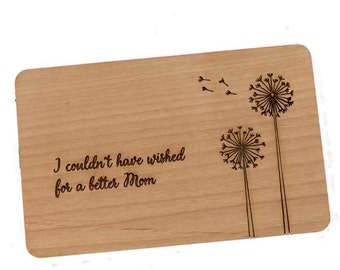 Dandelions Mothers Day Laser-Cut and Etched on Wood Card