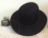 Black felt wide brim panama hat