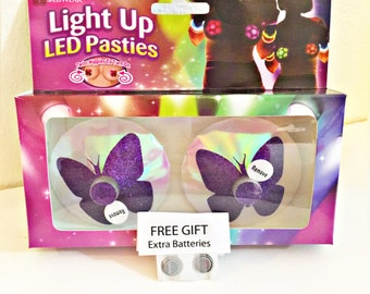 LED Butterfly Pasties, EDC Rave Costume, Stripper Clothes, Bachelorette Party, Gift for Her, Light-up Pasties
