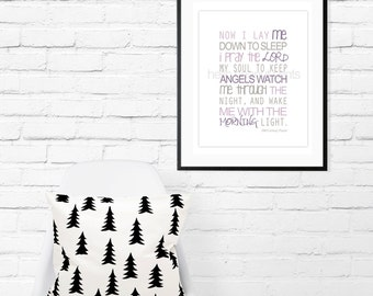 8 x 10 Nursery Print - Baby Art, Children Decor, Baby Shower Gift (Now I Lay Me) Prayer