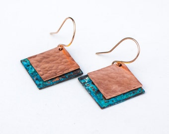 Copper / Blue Earrings - Copper and Blue Earrings - Copper and Patina Earrings - Copper & Blue Earrings - Forged Copper and Blue Patina