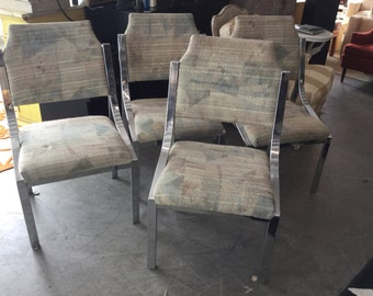 Chrome dining chairs, Vintage Set 4