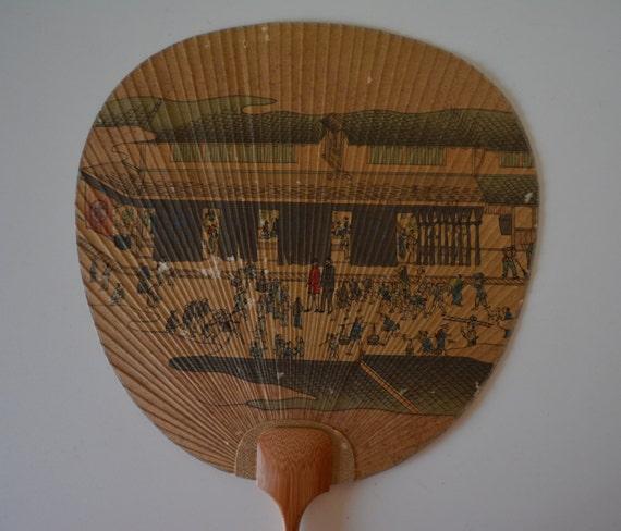 Paddle fan bamboo and paper uchiwa vintage japanese hand fan - Japanese paddle fan ...