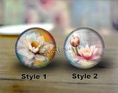 Lotus,handmade cabochons,glass cabochons,round cabochons,illustration cabochons,Digital cabochons,Dome cab cabochons --15 Size available