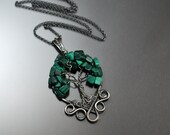 SALE: Malachite Antique Sterling Silver Tree of Life