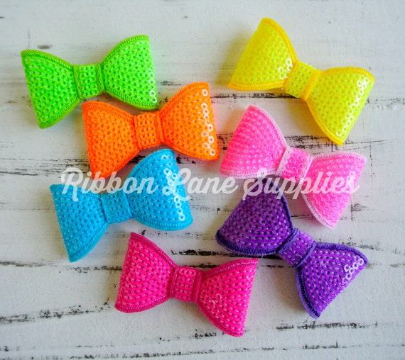 U Pick NeonFluorescent Sequin bow2 Bow applique