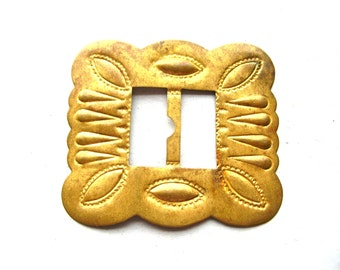 Vintage Stamped Brass Buckle - Southwestern Buckle - Native American Style Brass Buckle