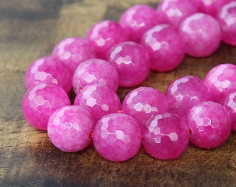 Faceted Jade Beads, Fuchsia, 8mm Round - 15 Inch Strand - EJFR-M12-8