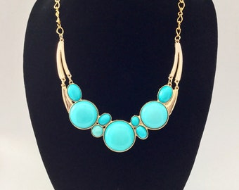 Turquoise and gold bubble bib statement necklace