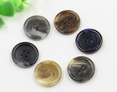6 pcs 0.59~0.98 inch High-grade Brown/Black/Gray/Beige Patterns 4 Hole Resin Shell Buttons for Suits