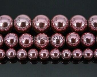 Non-Magnetic Metallic Light Pink Hematite Gemstones Round Loose Beads 6mm 8mm 10mm  Jewelry Design