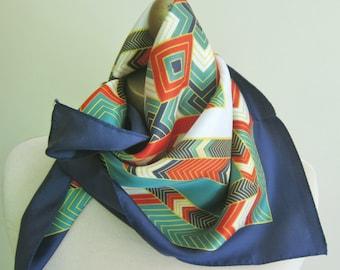 1950s silk scarf, holiday colors, geometric silk scarf, square scarves, festive silk scarf, hairwrap, ladies neckerchief,