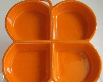 ON SALE Mod 1960s Butterfly Serving Dish / Platter / Bright Orange